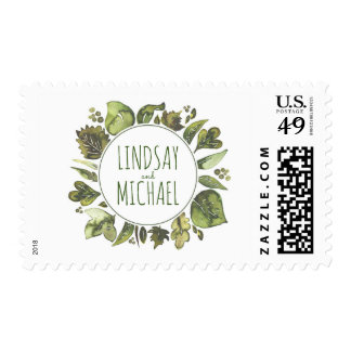 Greenery Wreath Watercolor Laurel Wedding Postage