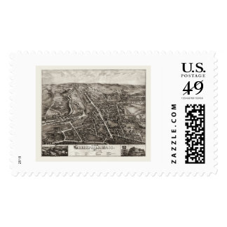 Greenfield, MA Panoramic Map - 1877 Postage Stamp