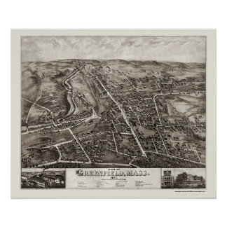 Greenfield, MA Panoramic Map - 1877 Poster