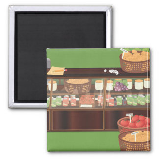 Greengrocers Store 2 Inch Square Magnet