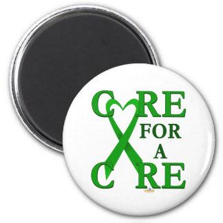GreenHeartRibbonCareCureLight Imán Redondo 5 Cm