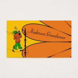 Greenhouse Garden Elf with Huge Orange Flower Business Card