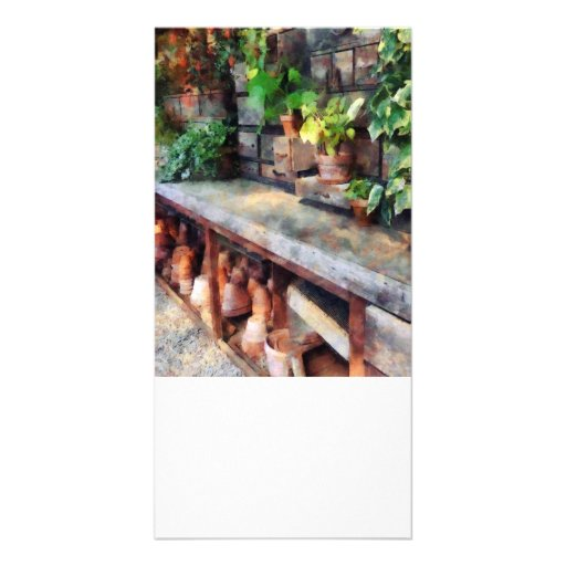 Greenhouse with Flowerpots Customized Photo Card