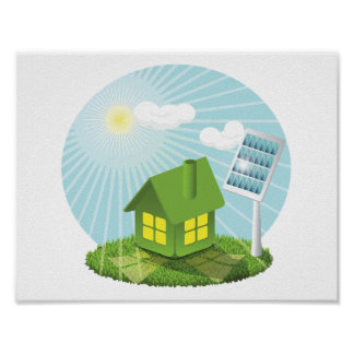 Greenhouse With Solar Energy Poster