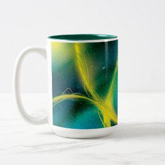 Greenish Abstract Two-Tone Coffee Mug