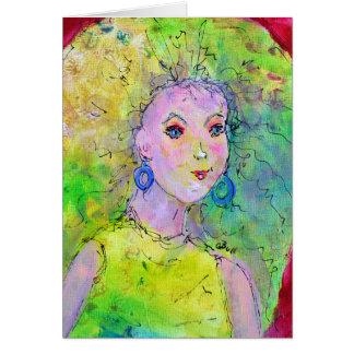 Greenish Blonde Go Go Girl Girly Art Girlfriend Card