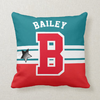 Greenish Blue and Red Sport Letter Throw Pillow