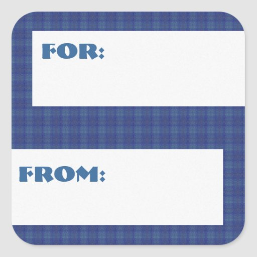 Greenish Blue Squares Patterned Gift Tag Sticker