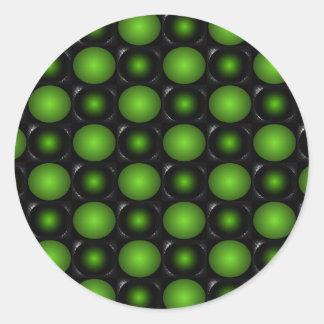 Greenish Chessboard 3D Design Green Classic Round Sticker