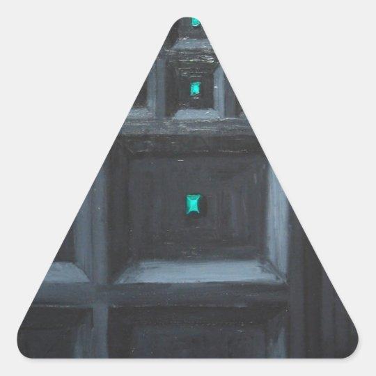 Greenish Gothic Great Wall (pattern surrealism) Triangle Sticker