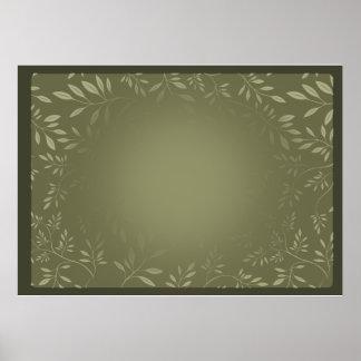 Greenish Leaves pattern wedding gift Posters