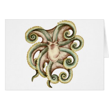 Beach Themed Greenish octopus card