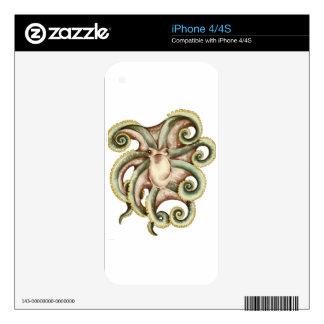 Greenish octopus decals for iPhone 4