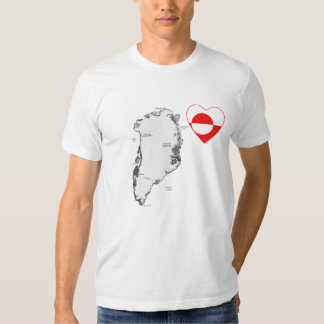 Greenland Flag Heart and Map T-Shirt