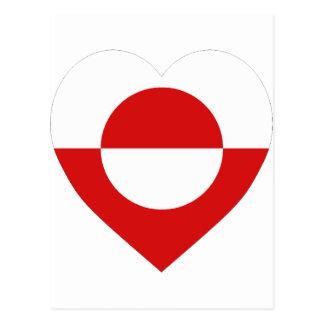 Greenland Flag Heart Postcard