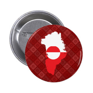 Greenland Flag Map full size Pinback Buttons