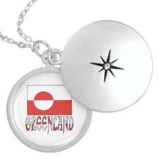 Greenland Flag & Name Round Locket Necklace