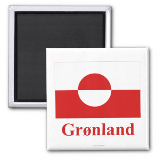 Greenland Flag with Name in Danish Magnet