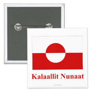 Greenland Flag with Name in Kalaallisut Button
