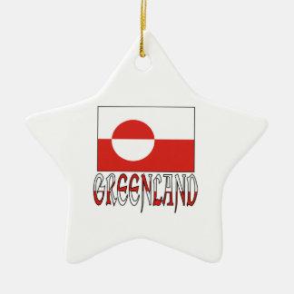 Greenland Flag Word Ceramic Ornament