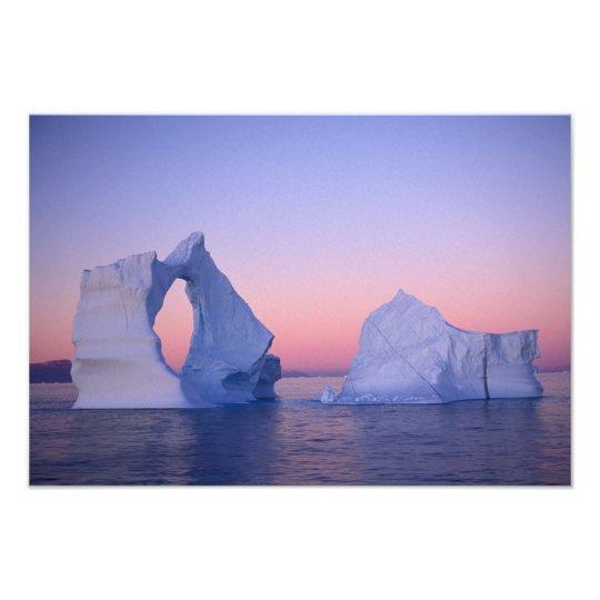 Greenland, Iceberg at sunset. Photo Print