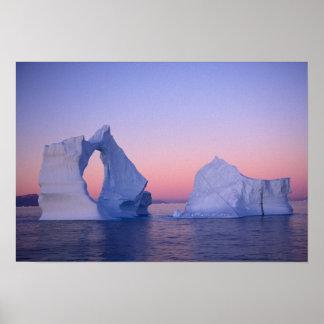 Greenland, Iceberg at sunset. Poster