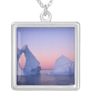 Greenland, Iceberg at sunset. Silver Plated Necklace