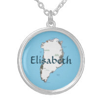 Greenland Map   Name Necklace
