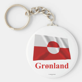 Greenland Waving Flag with Name in Danish Key Chains