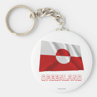Greenland Waving Flag with Name Keychain