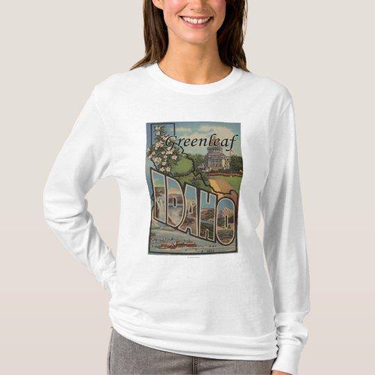 Greenleaf, Idaho - Large Letter Scenes T-Shirt