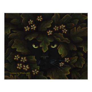 Greenman Black Cat Nature Forest Art Poster