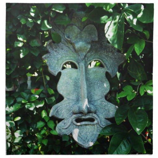 Greenman en las hojas servilleta de papel