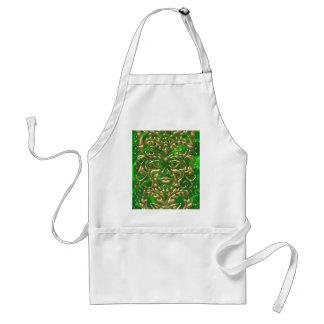 GreenMan in liquid gold damask green satin print Adult Apron