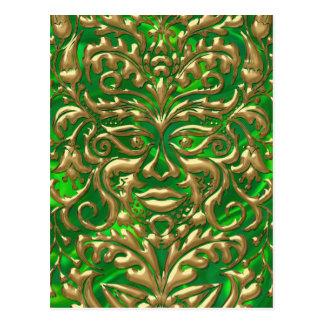 GreenMan in liquid gold damask green satin print Postcard