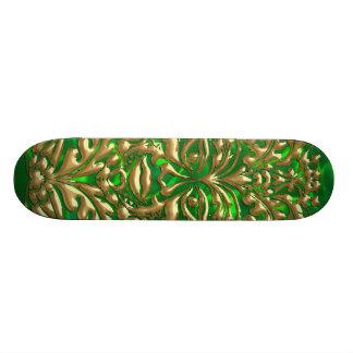 GreenMan in liquid gold damask green satin print Skateboard Deck