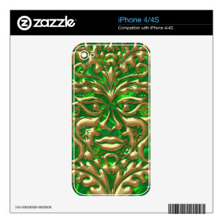 GreenMan in liquid gold damask green satin print Skin For The iPhone 4S