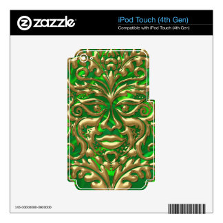 GreenMan in liquid gold damask green satin print Skins For iPod Touch 4G