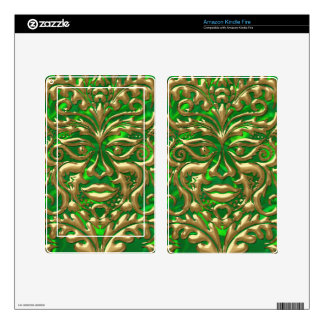 GreenMan in liquid gold damask green satin print Skins For Kindle Fire