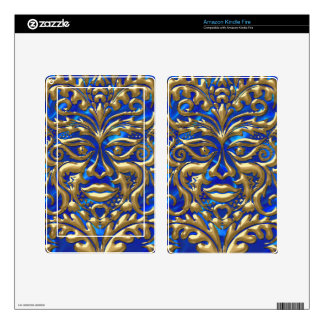 GreenMan in liquid gold damask on blue satin print Kindle Fire Skin