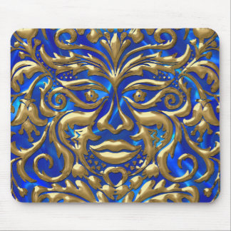 GreenMan in liquid gold damask on blue satin print Mouse Pad