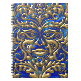GreenMan in liquid gold damask on blue satin print Notebook