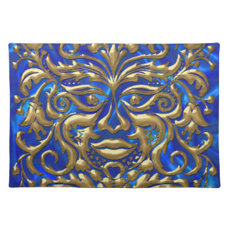 GreenMan in liquid gold damask on blue satin print Placemat