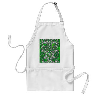 GreenMan in liquid silver damask green satin print Adult Apron