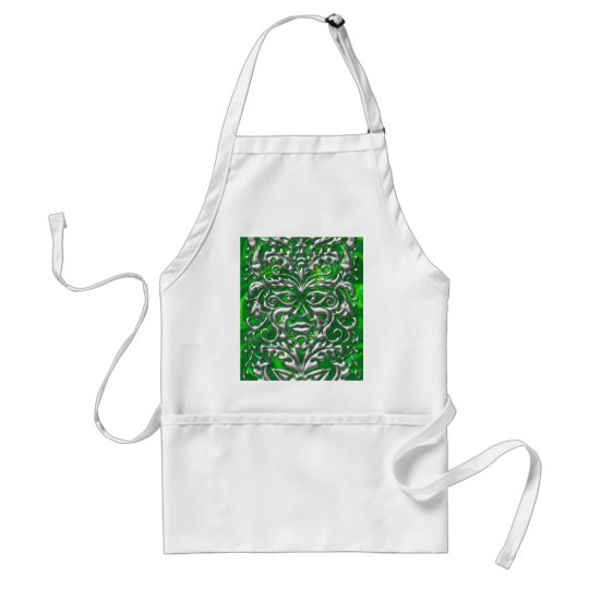 GreenMan in liquid silver damask green satin print Adult Apron