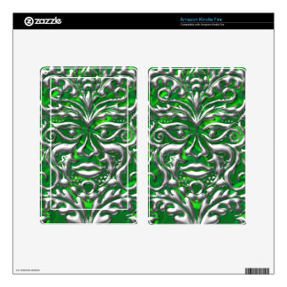 GreenMan in liquid silver damask green satin print Kindle Fire Decal