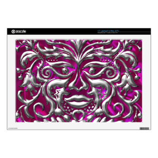 "GreenMan liquid gold damask on pink satin print 17"" Laptop Skin"