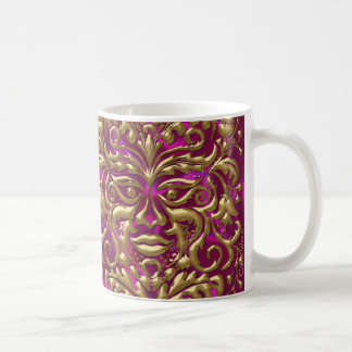 GreenMan liquid gold damask on pink satin print Coffee Mug