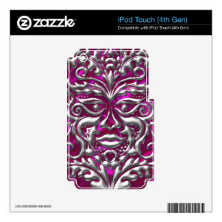 GreenMan liquid gold damask on pink satin print Decals For iPod Touch 4G