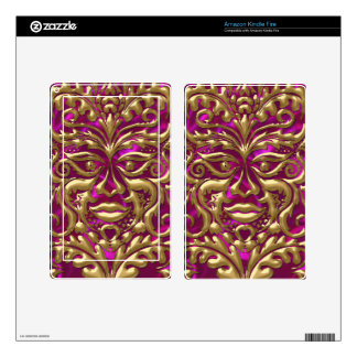 GreenMan liquid gold damask on pink satin print Decals For Kindle Fire